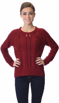 Classic Cable Knit Pullover Sweater - Burgundy
