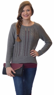 Classic Cable Knit Pullover Sweater - Grey