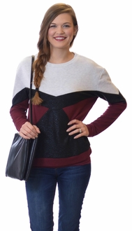 Color Block Black Shimmer Pullover