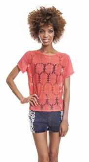 Coral Flower Printed Top