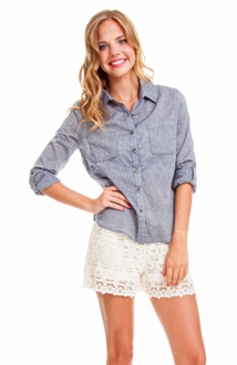 Dark Chambray Polka Dot Button Up Shirt