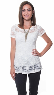 Get Me To Greece White Lace Blouse