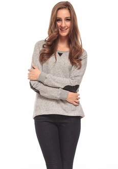 Grey Faux Leather Patch Pullover