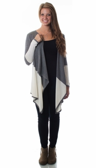 Grey & Ivory Color Block Waterfall Cardigan