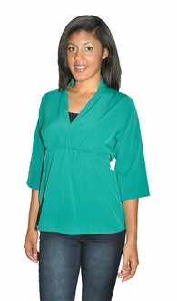 High Collar Work & Play Blouse - Emerald Green