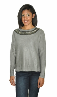 Jeweled Collar Sweater