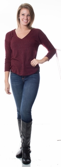 Knit Long Sleeve Sweater - Burgundy