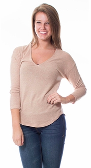 Knit Long Sleeve Sweater - Khaki