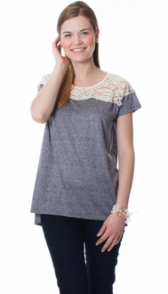 Lace Heathered Tee