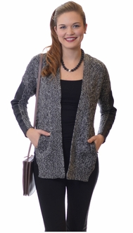 Leather Marbled Cardigan