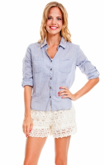 Light Chambray Polka Dot Button Up