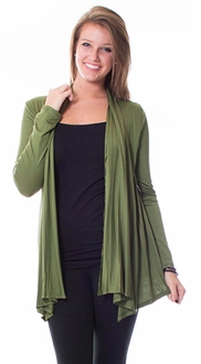 Long Sleeve Waterfall Cardigan - Olive
