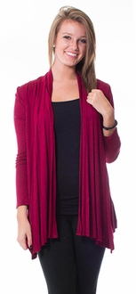 Long Sleeve Waterfall Cardigan - Burgundy