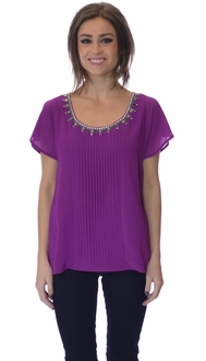 Magenta Pleated Jewel Collar Blouse