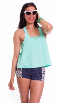 Mint Bow Textured Tank Top