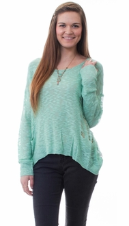 Mint Distressed Sweater