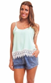 Mint Double Strap Lace Tank