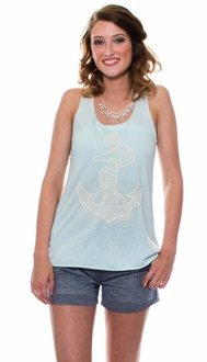 Mint Embroidered Anchor Tank