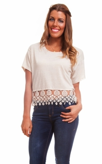 Natural Lace Trim Top