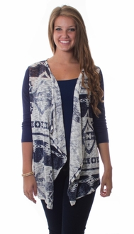 Navy 3/4 Tribal Cardigan