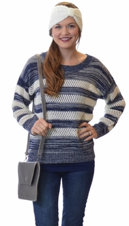 Navy + Cream Striped Crew Neck Sweater
