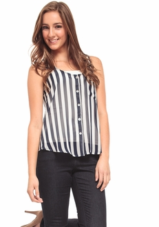 Navy Striped Button Tank