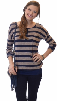 Navy + Tan Striped Henley Front Top