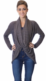 Navy + Taupe Multi-Wear Striped Top