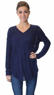 Navy V-Neck Cable Knit Sweater