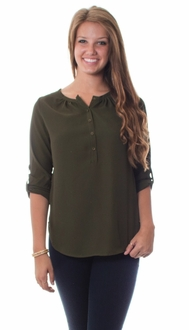Olive 3 Button Rolled Sleeve Blouse