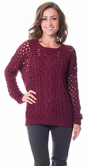 Open Knit Crew Neck Sweater