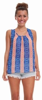 Orange & Blue Printed Tank