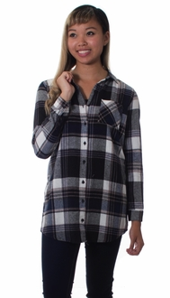 Plaid Flannel Button Down Tunic