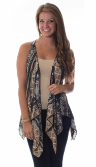Printed Crochet Back Vest