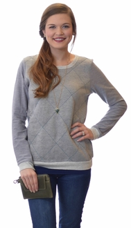 Quilted Grey Pop Pullover