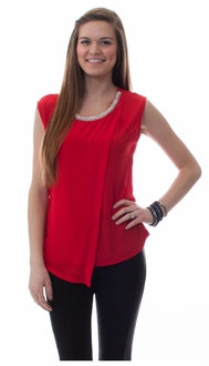 Red Jeweled Asymmetric Blouse