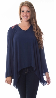 Retro Navy Flow Blouse