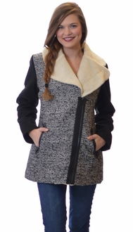 Shearling Collar Marbled Winter Jacket