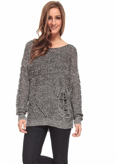 Shredded Knit Sweater