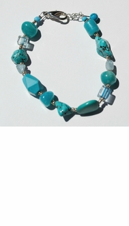 Silver, Turquoise & Clear Stone Bracelet