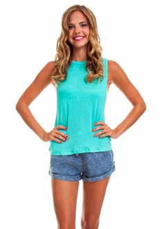 Spearmint Double Twist Muscle Tee