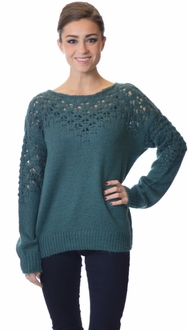 Teal Open Knit Sweater