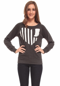 United State of Indiana Fleece Crew Neck Sweater - Charcoal