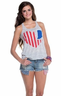 United State of Indiana Heart Tank - Grey / Red + Blue