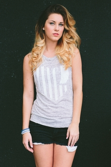 United State of Indiana Muscle Tee - White Marble