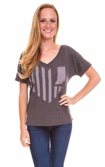 United State of Indiana Relaxed V-Neck Tee- Dark Grey