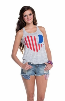 United State of Indiana Scoop Neck Tank- Grey Marble
