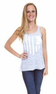 United State of Indiana Scoop Neck Tank- Light Blue Marble