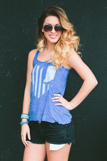 United State of Indiana Scoop Neck Tank - Royal Blue Marble