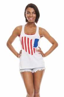 United State of Indiana Scoop Neck Tank- White